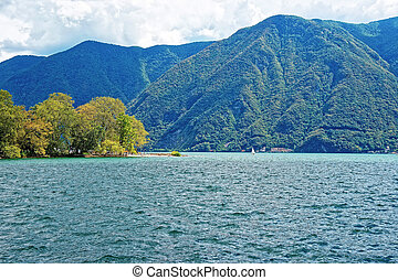 Nature of Lake Lugano and mountains in Ticino of Switzerland...