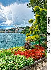Garden park at promenade in Lugano in Ticino of Switzerland...