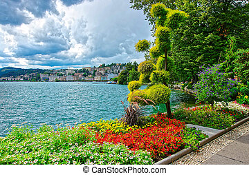 Garden park at promenade in Lugano in Ticino in Switzerland...
