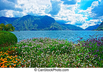 Garden park at promenade in Lugano of Ticino in Switzerland...