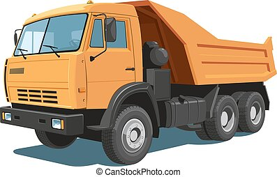 Dump truck - Vector isolated orange dump truck on white...
