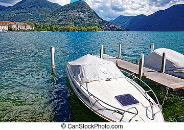Motor Boats at promenade in Lugano in Ticino of Switzerland...