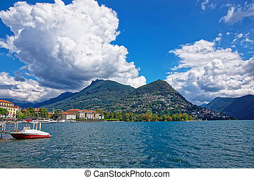 Motor Boat at promenade in Lugano in Ticino of Switzerland -...