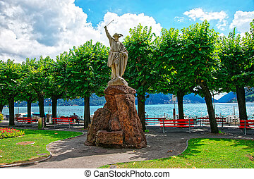 Sculpture of William Tell at promenade in Lugano Ticino...