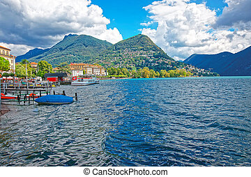 Vessels at landing stage in Lugano in Ticino in Switzerland...