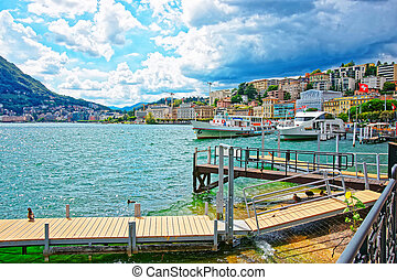 Ship at landing stage in Lugano in Ticino Switzerland - Ship...