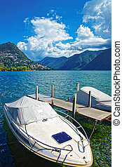 Motor Boats at promenade Lugano Ticino in Switzerland -...