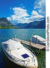 Motor Boats at promenade Lugano Ticino in Switzerland -...