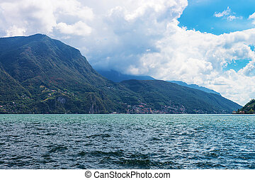 Nature of Lake Lugano and Alps mountains Ticino in...