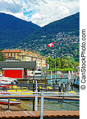 Boats at landing stage in Lugano in Ticino in Switzerland -...