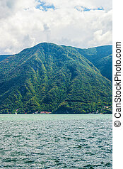 Nature of Lake Lugano and Alps mountains Ticino of...
