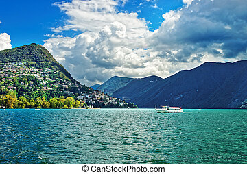 Small passenger ship at promenade Lugano Ticino Switzerland...