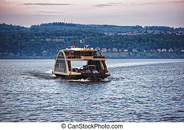 Car ferry on Lake Constance of Baden Wurttemberg - Car ferry...