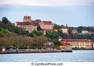 Meersburg Castle and old town on Lake Constance in...