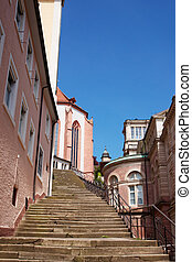 Stairs and Baden Baden church Stiftskirche in Germany -...