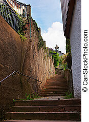 Staircase at tight street in Baden Baden Germany - Staircase...