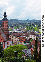 Baden Baden church Stiftskirche and city center in Germany -...