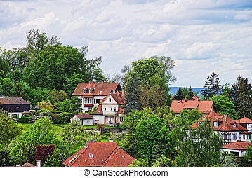 Panoramic view of Bamberg city center Upper Franconia in...