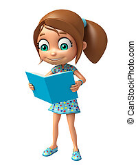 kid girl with Book