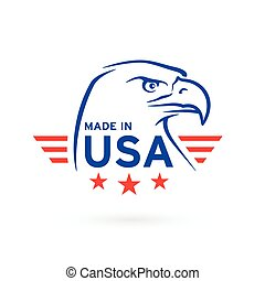 Made in USA icon with American Eagle emblem. Vector illustration.