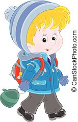 Schoolchild in winter clothes - Little schoolkid in a winter...