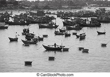 fishing village - Black&White image of fishing boat on Mui...