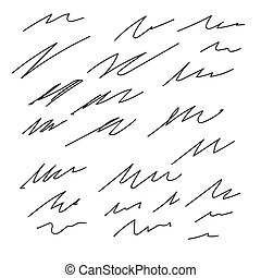 Set of vector Abstract hand drawn ink strokes