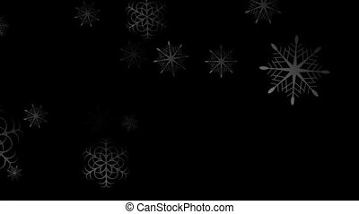 Abstract dark Christmas animated background with snowflakes....