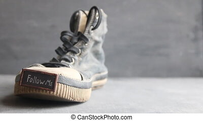 Follow me label for social networks and Vintage Sneakers -...