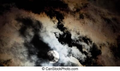 Time lapse full moon in cloud - Time lapse full moon