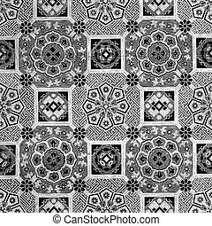 30 - Abstract floral mosaic tile vintage ornament seamless