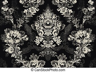 18 - Abstract hand-drawn floral seamless pattern, vintage...