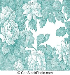 29 - Abstract hand-drawn floral pattern rose, vintage...
