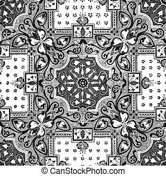 34 - Abstract floral mosaic tile vintage ornament seamless