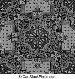 35 - Abstract floral mosaic tile vintage ornament seamless