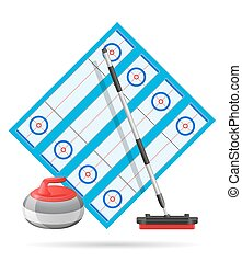 playground for curling sport game vector illustration...