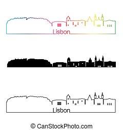 Lisbon V2 skyline linear style with rainbow in editable...