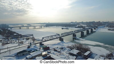 Bridge through Ob river in Novosibirsk - Communal bridge...