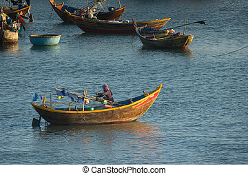fishing village - Tradition fishing boat of Mui Ne in...