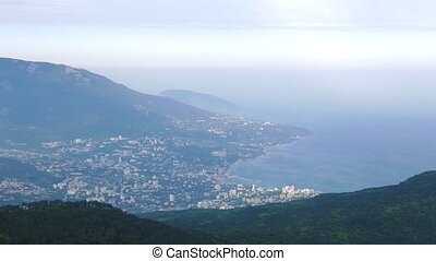 View of Yalta from Mount Ai-Petri. Panorama. Crimea.