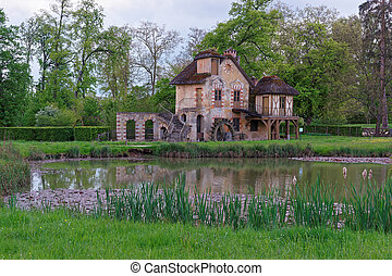 Water mill and Old village of Marie Antoinette at Versailles...