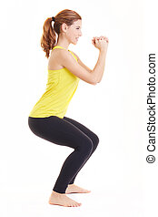 young fit woman doing exercises