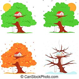 Tree house vector illustration in flat style. Hut on the...