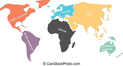 Multicolored simplified world map divided to continents