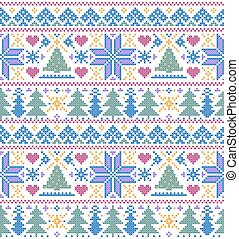 pattern with trees and snowflakes - Vector illustration of...