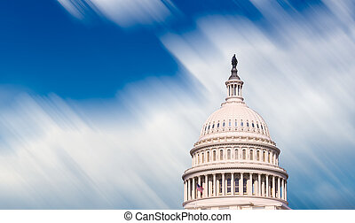 Congress capitol dome in Washington DC - Motion blur clouds...
