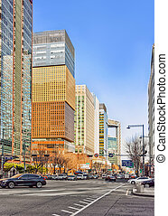 Much traffic in Jung district of Seoul - Seoul, South Korea...