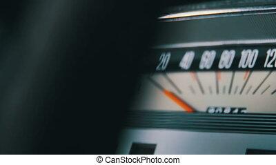 Vintage car speedometer.