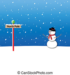 North Pole and Snowman Background