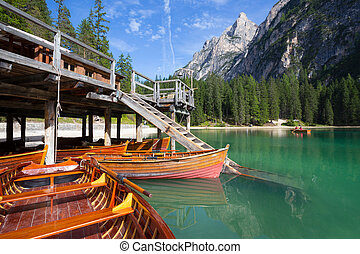 lago di Braies - view of well-known tyrolean lake lago di...